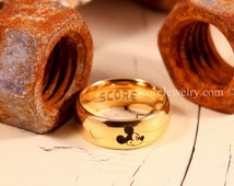 14K Yellow Gold Tungsten Band with Domed Edge Mickey Mouse Ring- 8mm Tungsten Ring