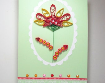 3D Quilled flower card for annivesary,valentine,graduate,birthday,mother's day,handmade flower card by YJMai