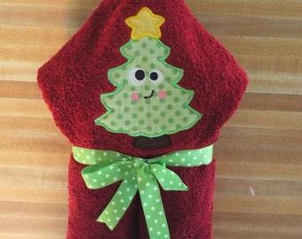 Christmas Tree Hooded Towel, Christmas Towel, Tree Towel, Beach Towel, Bath Towel, Embroidered, Personalized, Funny Face Tree Towel