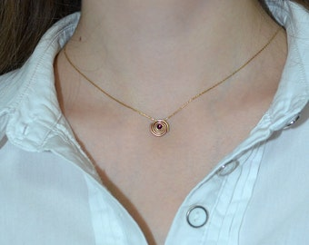 Ruby Necklace // Ruby Drop Necklace Gold - Drop Charm Necklace - Ruby Jewelry - Gemstone Necklace - Pendant Necklace