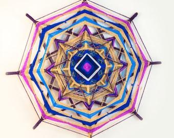 Purple, blue and beige woven yarn mandala, handmade mandala ~ god's eye, ojos de dios, the eye of god, colorful mandala, eco style decor