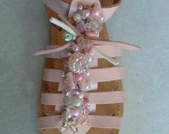 Pink gladiator sandals