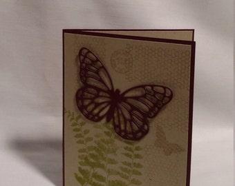Sympathy card - maroon butterfly