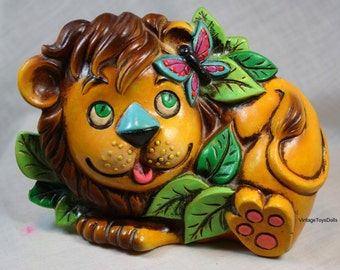 Vintage Napcoware Children's Lion Piggy Bank 1970's Retro