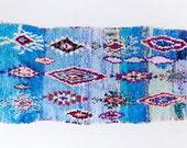 "Vintage Moroccan Boucherouite Rug, ""The Ronan,"" Rag Rug, Runner Rug, Berber Rug, Geometric Rug, Blue Rug, Colorful, Bohemian Decor, Boho Rug"