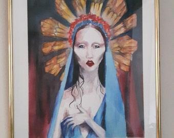 sanctity, an original watercolor painting, framed original watercolour painting