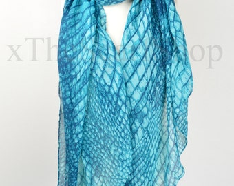 Teal Blue Snake Python Print Scarf,Wrap,Shawl,CoverUp,Scarves,Gift,Christmas,Gifts for Her,Christmas Present,Snake Lover Gift,Oversize Scarf