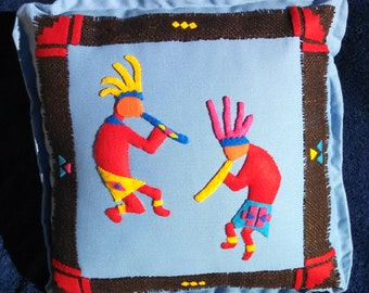 Southwestern applique pillow-Kokopelli decorative pillow-Felt applique throw-Artsy Southwestern decor-Dancing 3D Kokopelli applique pillow
