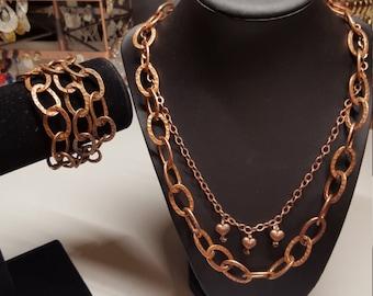 Large link hammered copper chain necklace or bracelet.
