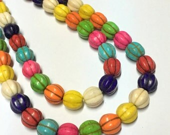 10mm Mixed Color Howlite Gemstone Pumpkin Beads - 15.5inch Full strand - Howlite Beads