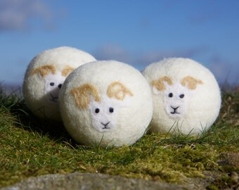 Wool dryer balls, pack of 3 Wiltshire Horn sheep felted laundry balls, reusable, chemical free laundry natural fabric softener