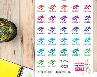 Couch 2 5K Planner Stickers | C25K | Running Stickers | Running Training Program | Couch to 5K | Fitness Stickers (S-116)