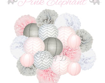 Pink and Gray Deluxe Tissue Pom Set with Paper Lanterns - Pink and Gray Party Decorations - PINK ELEPHANT theme - two sizes