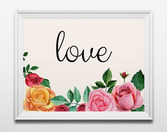 Love print Romantic wall art Valentine poster Roses print Bedroom wall decor Valentines day Watercolor floral art Digital print flowers