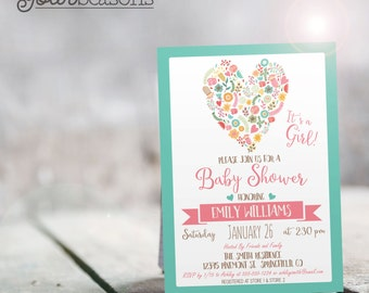 Pink & Aqua Baby Shower Invitation - Personalized Printable DIGITAL FILE