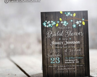 Rustic Turquoise & Lime Green Bridal Shower Invitation - Personalized Printable DIGITAL FILE
