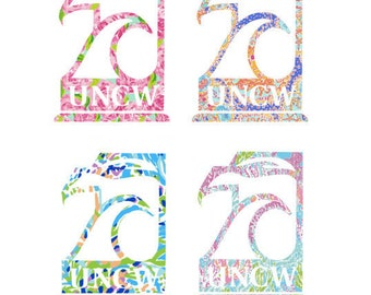 UNCW SEAHAWKS Lilly Pulitzer insp. decal/sticker