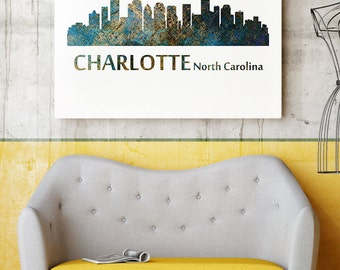 Charlotte Watercolor Poster - Charlotte Cityscape Art Print - Charlotte Giclee Print