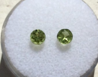 Natural Green Peridot 4.5mm Round Cut .72ctw Qty. 2.  August Birthstone For Jewelry Faceted Round Cut Genuine Birthstones A337
