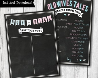 Cast Your Vote Chalkboard Gender Reveal Party Sign - Old Wives' Tales Gender Reveal Party Sign - Gender Predicting - INSTANT DOWNLOAD -