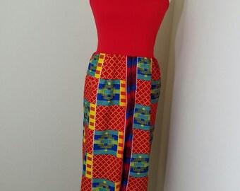 Kente sundress / summer dress red