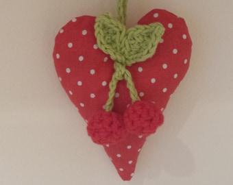 Hanging heart with crochet cherries