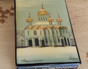 Vintage Russian Lacquer Box  Cathedral The Savior Cathedral Vintage Russian Lacquer Box Church
