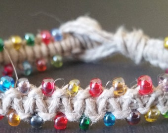 Unique kids rainbow hemp bracelet
