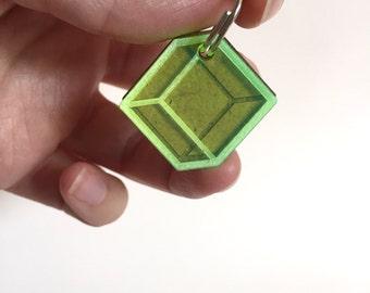 Cube cat tag - wood and plexiglass - Custom Pet ID tags laser cut Cat Tag