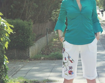 White Capris with Floral Deco