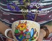 Overworked cat Painted mug Handpainted mug Funny mug Tea mug Cute mug Coffee mug Cat mug Custom mug