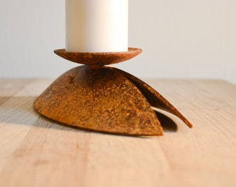 Handmade rusted candle holder