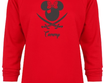 Disney Cruise Inspired Minnie Mouse Pirate personalized Glitter Vacation sweatshirt