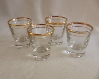 4 Vintage Glass Shot Glasses, Gold Rimmed