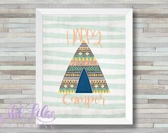 Happy Camper - Gender Neutral Mint Green & Orange Tribal Print - DIGITAL PRINT