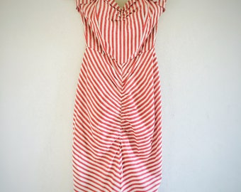 Americana Striped & Ruched Dress 1950s