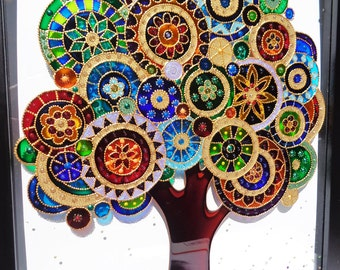Tree of life art 15x12 Bohemian decor Wall decor Glass painting Doodle art