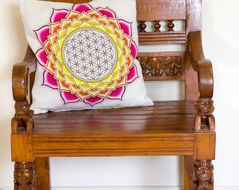 Flower of Life Cushion, Lotus Pillow, Flower of Life Pillow, Lotus Cushion, Lotus Decor, Flower of Life Decor, Lotus Mandala Decor | CUS093