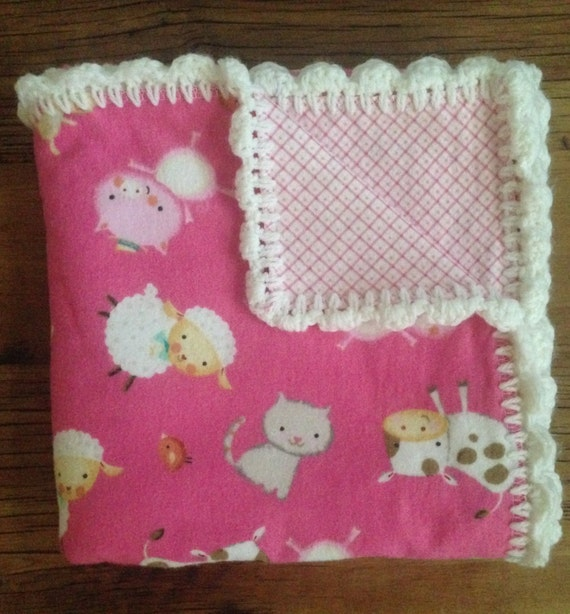 Free Crochet Patterns For Receiving Blankets : Free Shipping Baby Girl Receiving Blanket with Hand Crochet