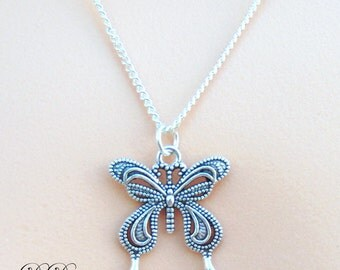 Silver Butterfly Necklace, Silver Charm Necklace, Butterfly Pendent, Silver Necklace, Butterfly Chain, Gifts for her