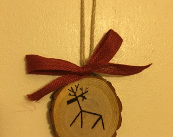 Wood Slice Ornament, Reindeer Ornament, Tree Ornament, Wood Burned Ornament, Gift Tag