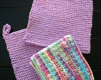 Hand Knitted Cotton Pot Holder and Dish Cloth Set, Lavender Pot Holder and Dish Cloth Set