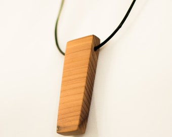 Handmade All Natural Wood Necklace, Minimalist Wood Pendant Necklace, Cedar Pendant Necklace, Adjustable Leather Necklace, FREE SHIPPING!