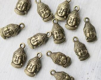 Set of 10 Buddha Head Charm Double Sided Antique Bronze Hindu Charm Yoga Charm 0381