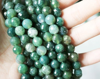 10mm Moss Agate, Faceted Beads, Natural Gemstone, Green Beads, Faceted Green Beads, Agate Beads, Faceted Moss Agate, Moss Agate,