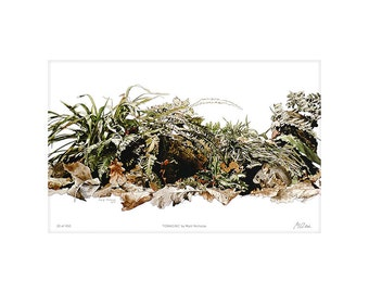 Woodland, Mouse, Critter, Foliage, Art, Print, Wildlife, Animal, Watercolor, Limited Edition, Giclee, Archival, 14x11