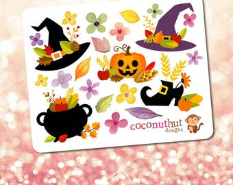 Halloween / Thankgiving / Fall / Harvest / Autumn Theme Mini Planner Sticker Sheet