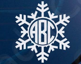 Snowflake Monogram Sticker Decal Yeti Window Laptop Phone Winter