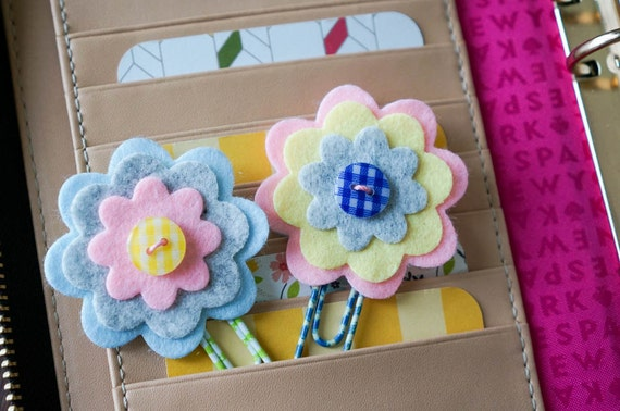 Items similar to Felt Flower Planner Clips, Filofax, Kikki ...