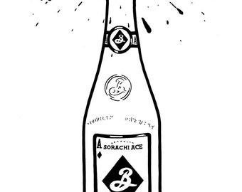 Brooklyn Sorachi Ace bottle - Hand-drawn illustration print